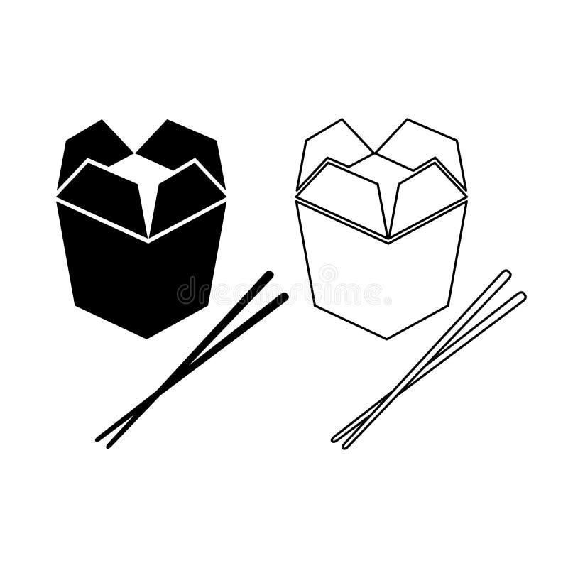 Caja de la comida e icono asiáticos de los palillos stock de ilustración