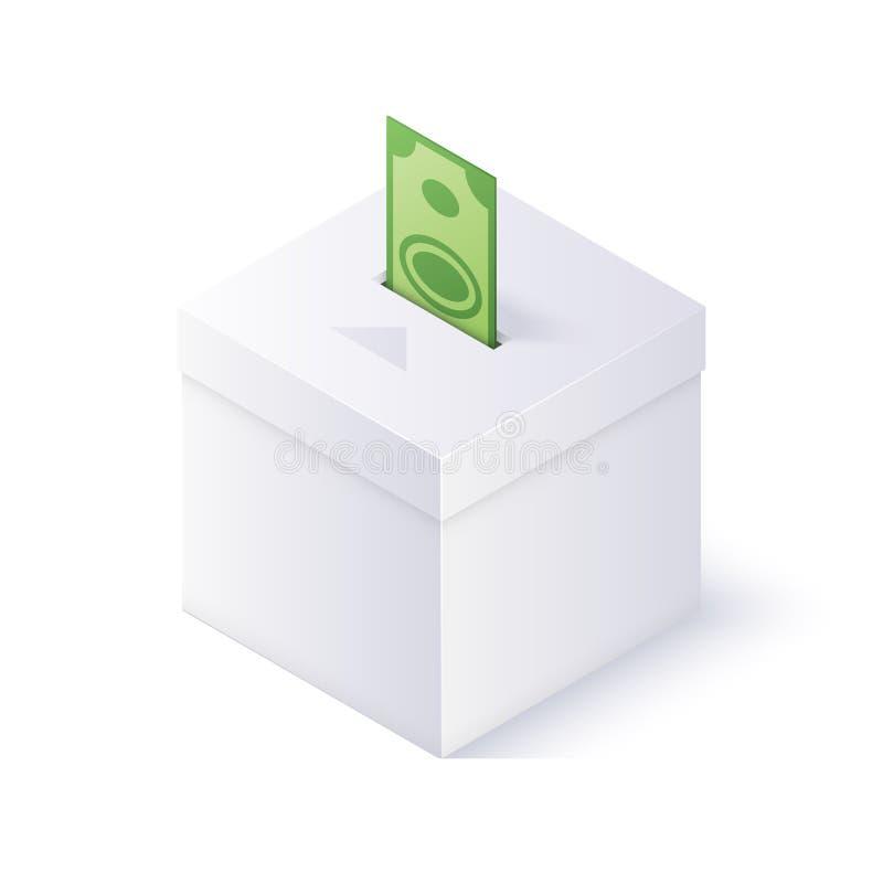 Caja de la donación en el fondo blanco Ejemplo isométrico del vector stock de ilustración