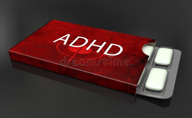 Caja de la medicina para ADHD stock de ilustración