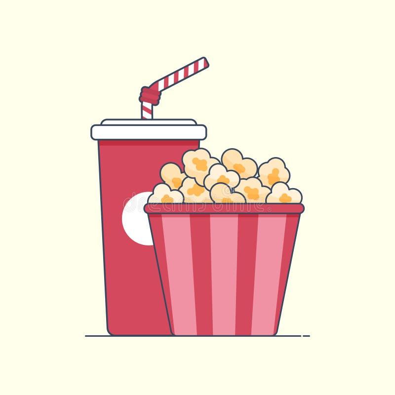 Caja de la palomitas de maíz del icono y soda planas de la bebida Ilustración Aislado ilustración del vector