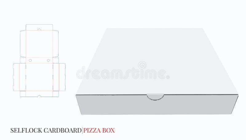 Caja de la pizza, caja de la entrega de la cerradura del uno mismo de la cartulina El vector con cortado con tintas/el laser cort stock de ilustración