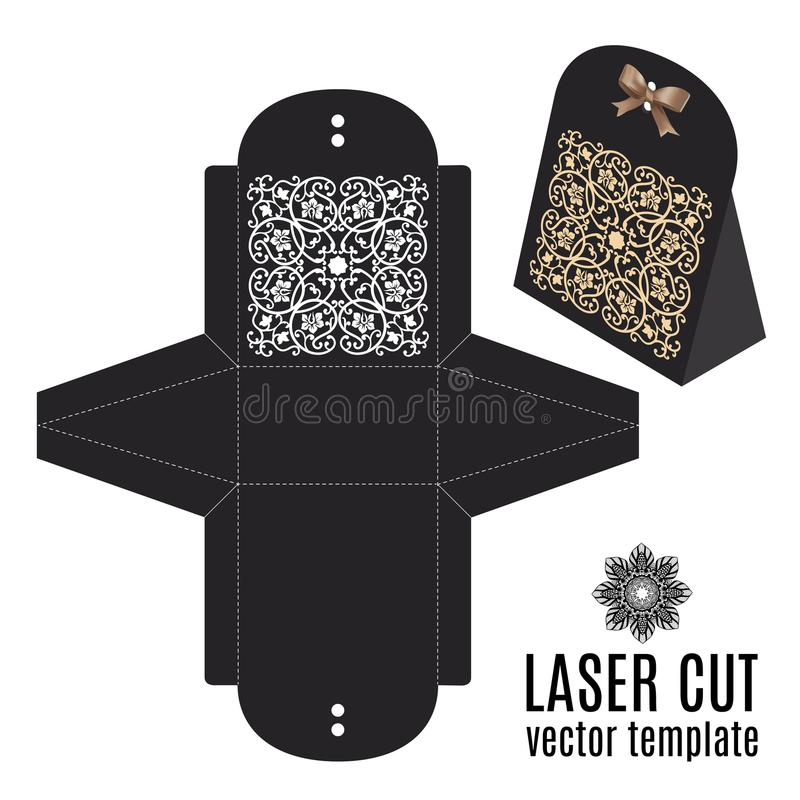 Caja de la plantilla de corte del laser de la invitación de boda del vector libre illustration