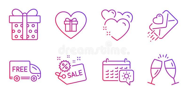 Caja de la venta, de regalo y sistema de los iconos del corazón Muestras regalo, calendario del viaje y de la letra de amor román stock de ilustración