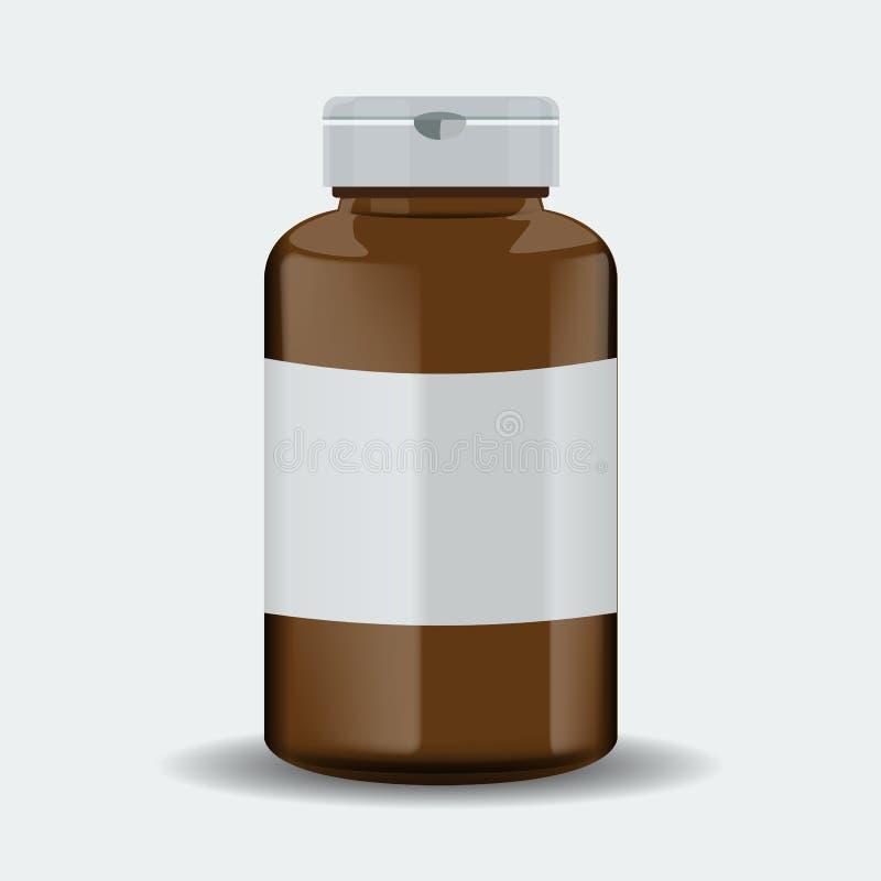 Caja de las píldoras Envase médico de Brown Ilustración del vector aislada en el fondo blanco stock de ilustración