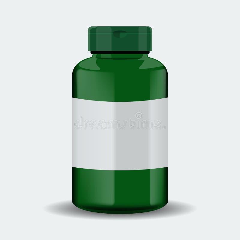 Caja de las píldoras Envase médico verde Ilustración del vector en el fondo blanco stock de ilustración