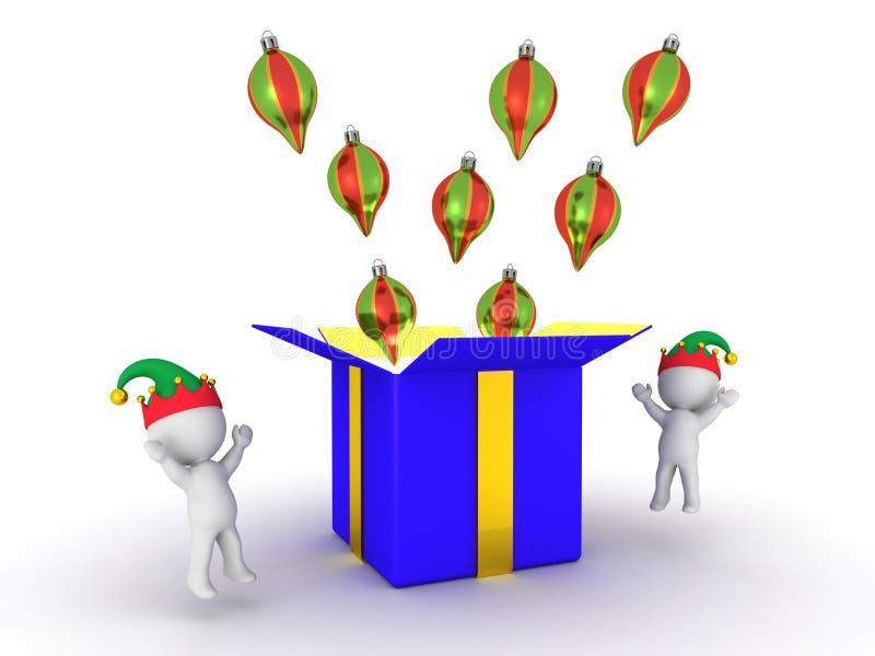 caja de los hombres 3D y de regalo con los globos libre illustration