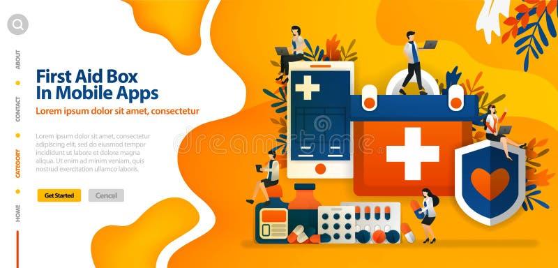 Caja de los primeros auxilios en la aplicación móvil, para proteger salud y comodidad pacientes el concepto del ejemplo del vecto ilustración del vector
