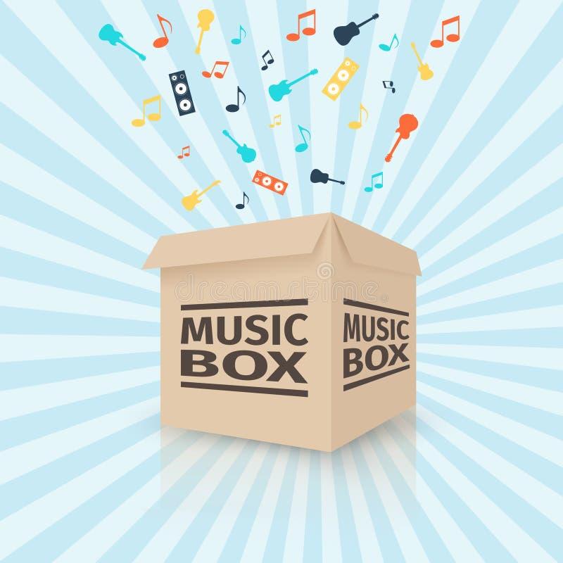 Caja de música de la cartulina stock de ilustración