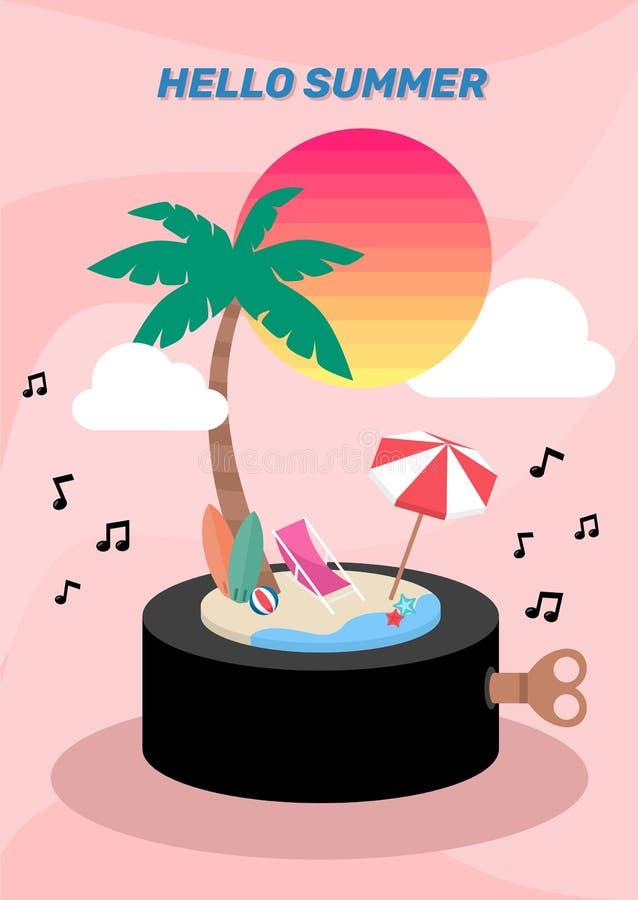 Caja de música de la isla de verano decorada con paraguas de nubes de color rosa pastel ilustración del vector