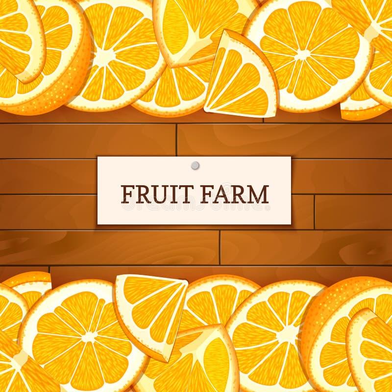 Caja de madera con las frutas anaranjadas tropicales Ejemplo de la tarjeta del vector Sube al fondo de madera, la frontera con la ilustración del vector