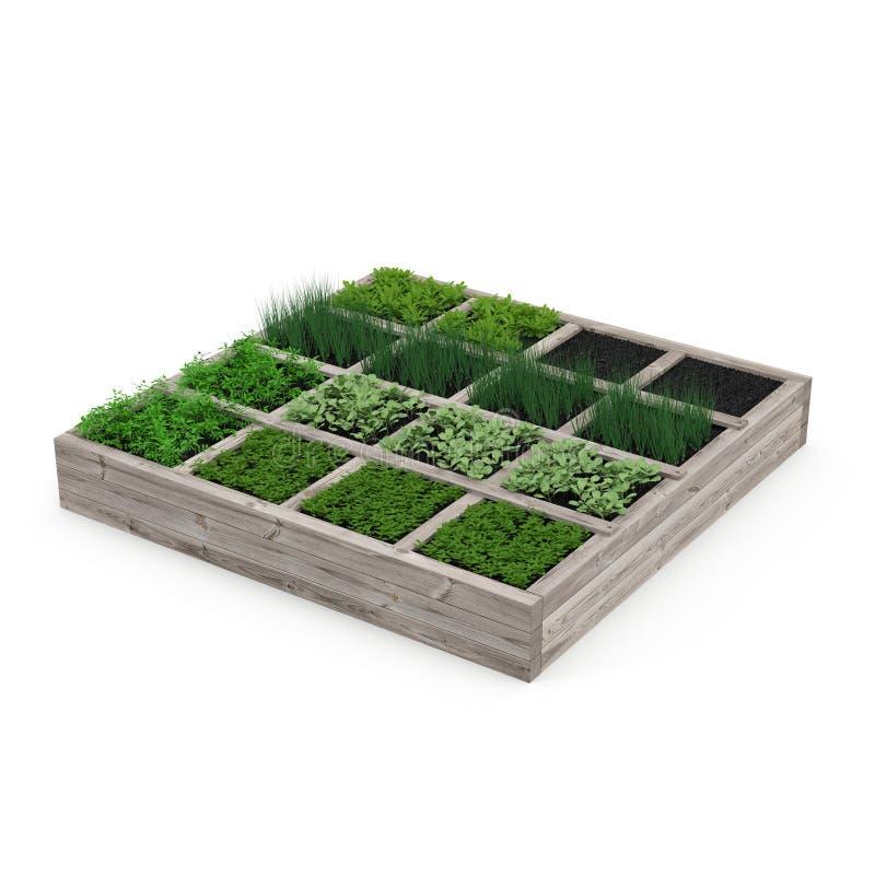 Caja de madera con un jardín joven en blanco ilustración 3D libre illustration