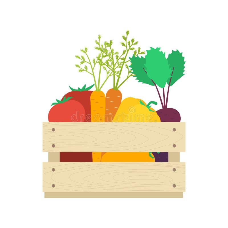 Caja de madera con vector de las verduras libre illustration