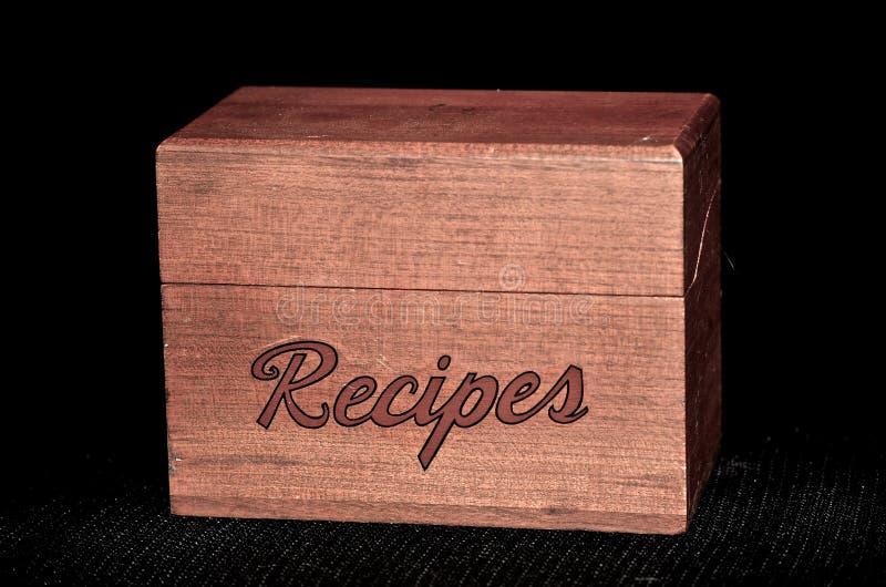 Caja de madera de la receta del vintage fotos de archivo