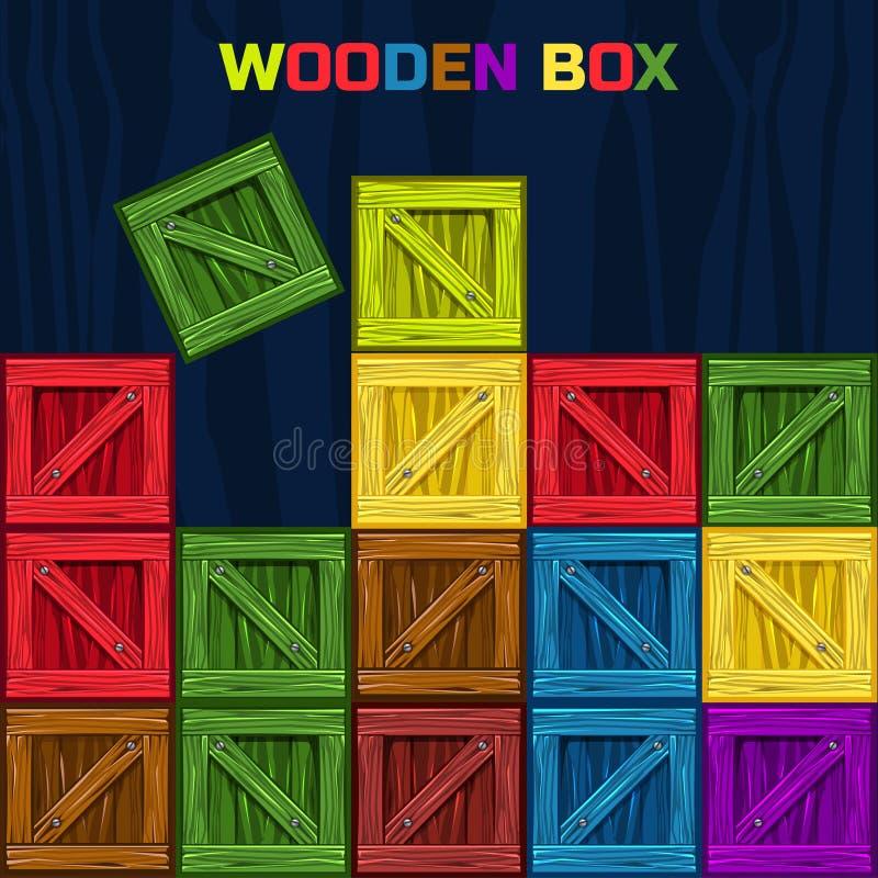 Caja de madera de los colores, elemento del juego ilustración del vector