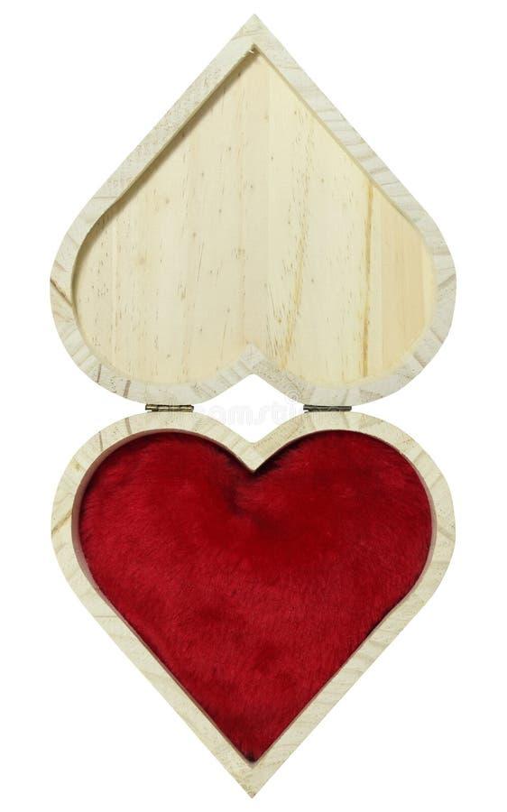 Caja de madera en la forma del corazón foto de archivo