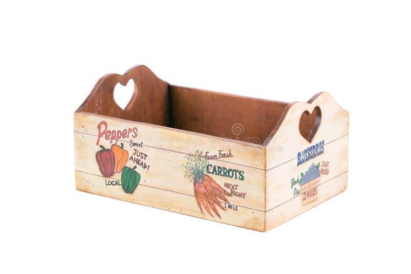 Caja de madera hecha a mano para las verduras imagenes de archivo