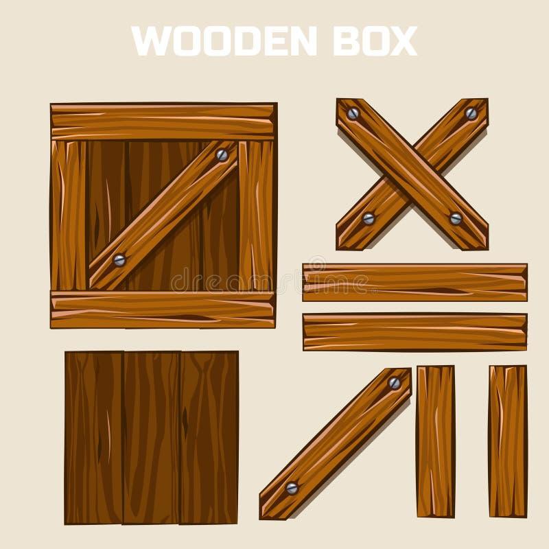 Caja de madera y tableros ilustración del vector