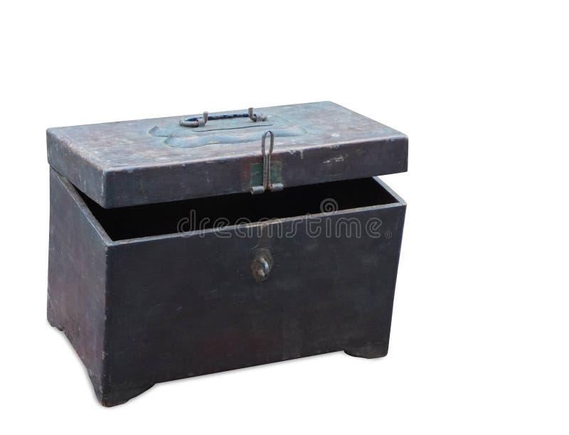 Caja de madera y tapa antiguas del primer en el fondo blanco, vintage, objeto, espacio de la copia fotos de archivo