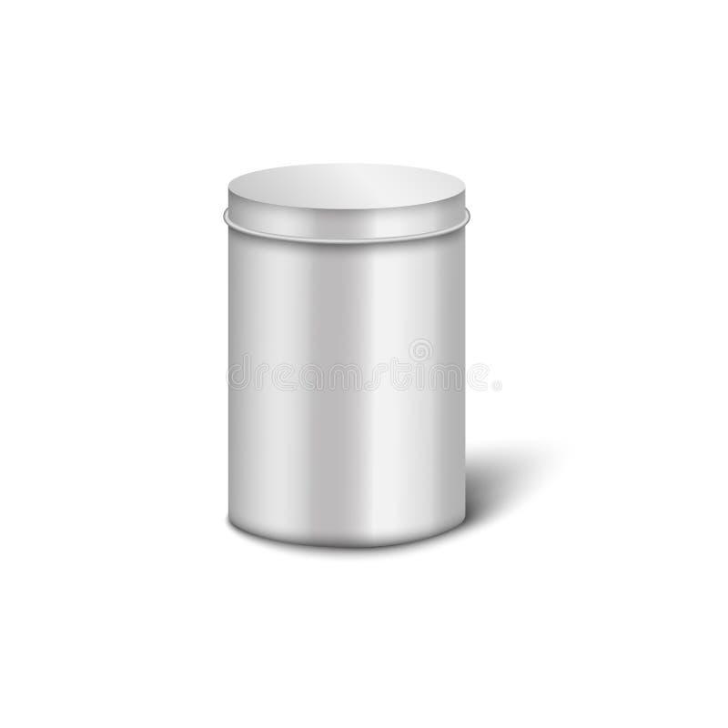 Caja de metal de aluminio plateado con forma de cilindro y tapa redonda cerrada ilustración del vector