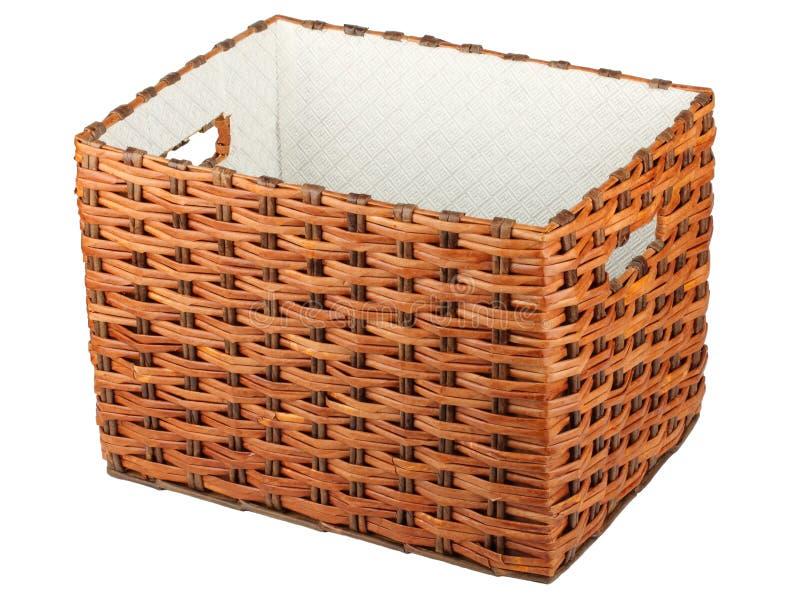 Caja de mimbre vacía fotos de archivo libres de regalías