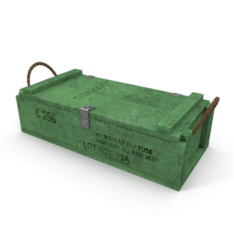 Caja de munición de madera verde vieja en blanco ilustración 3D stock de ilustración