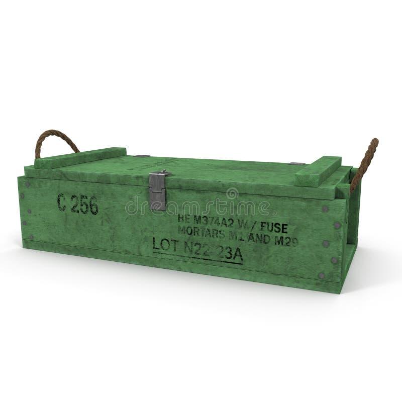 Caja de munición de madera verde vieja en blanco ilustración 3D libre illustration