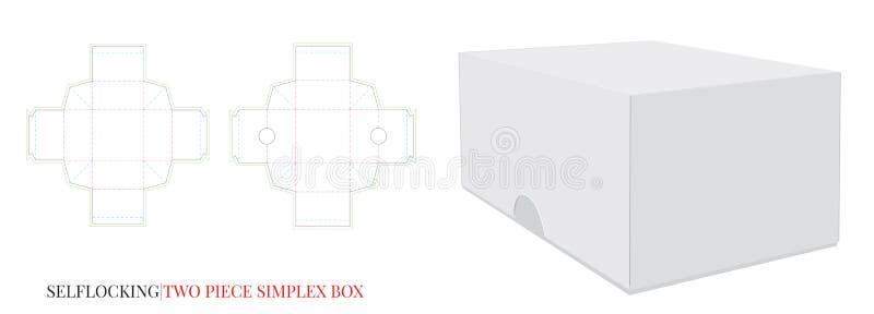 Caja de papel de cuadrado, cerradura del uno mismo, dos pedazos, sin pegamento El vector con cortado con tintas/el laser cortó ca libre illustration