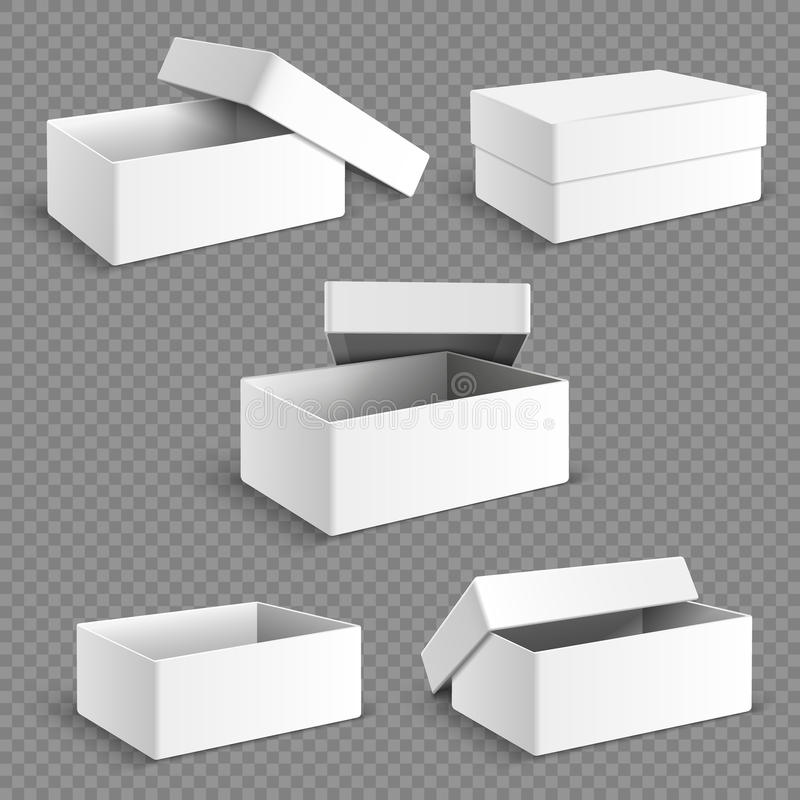 Caja de papel de empaquetado del blanco en blanco con el sistema suave transparente del vector de las sombras libre illustration