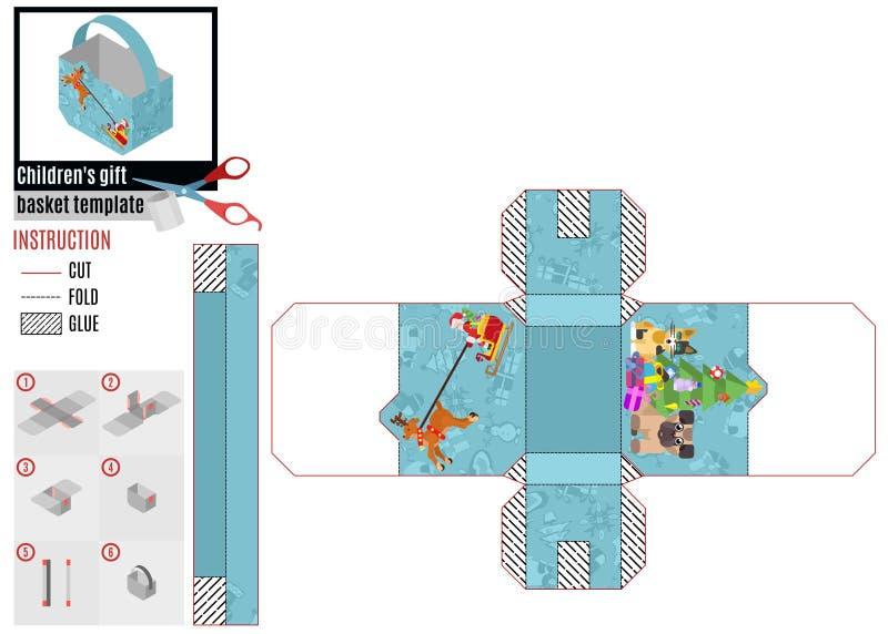 Caja de papel del modelo Estilo plano Papá Noel en trineo y el árbol de navidad stock de ilustración