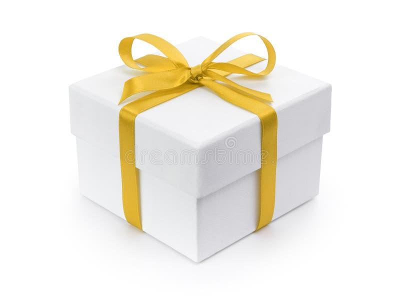 Caja de papel del regalo blanco con el arco amarillo de la cinta libre illustration