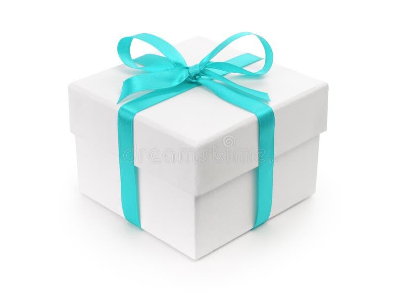 Caja de papel del regalo blanco con el arco de la cinta azul ilustración del vector