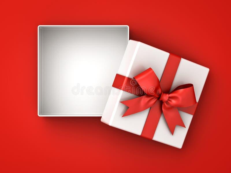 Caja de regalo abierta, actual caja con el arco rojo de la cinta y espacio en blanco en la caja aislada en fondo rojo con la somb ilustración del vector