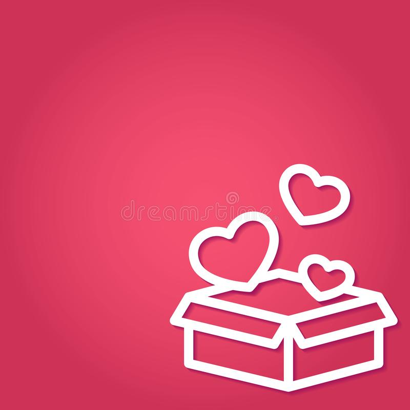 Caja de regalo abierta con del vuelo los corazones lejos en el arte de papel en fondo rojo con el espacio de la copia libre illustration