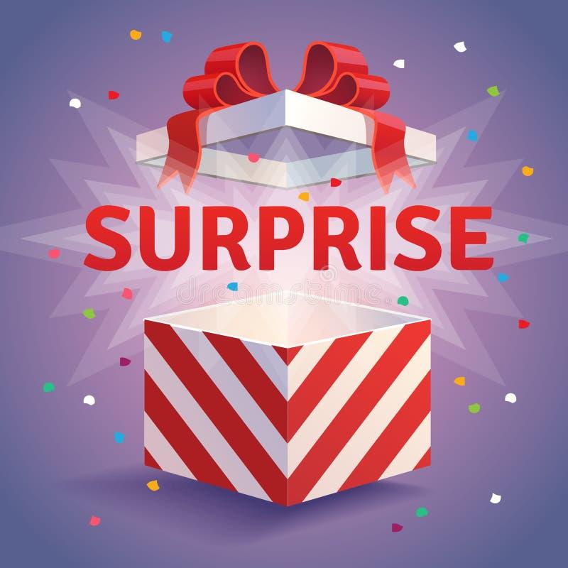Caja de regalo abierta de la sorpresa ilustración del vector