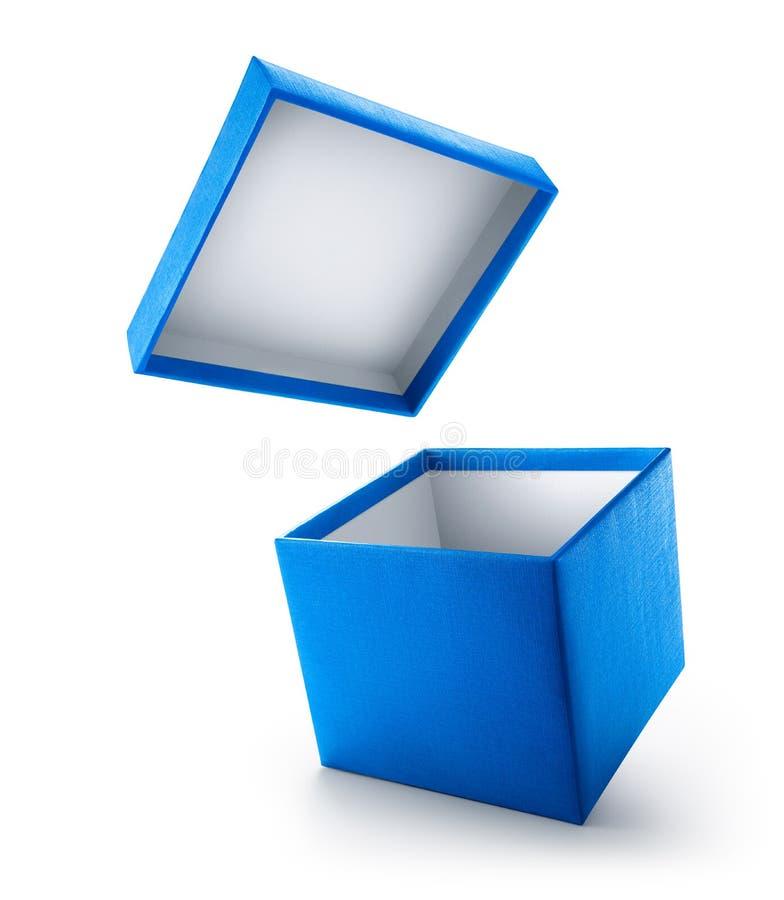Caja de regalo abierta del azul aislada fotografía de archivo libre de regalías