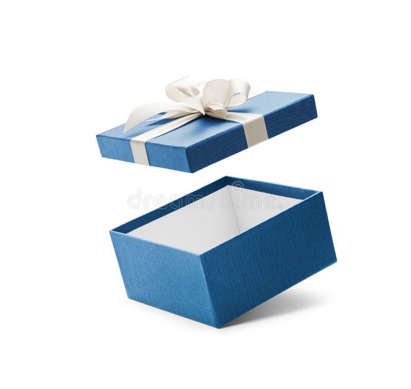 Caja de regalo abierta del azul con el arco blanco imagen de archivo libre de regalías