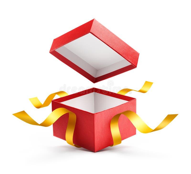 Caja de regalo abierta del rojo con la cinta del oro stock de ilustración