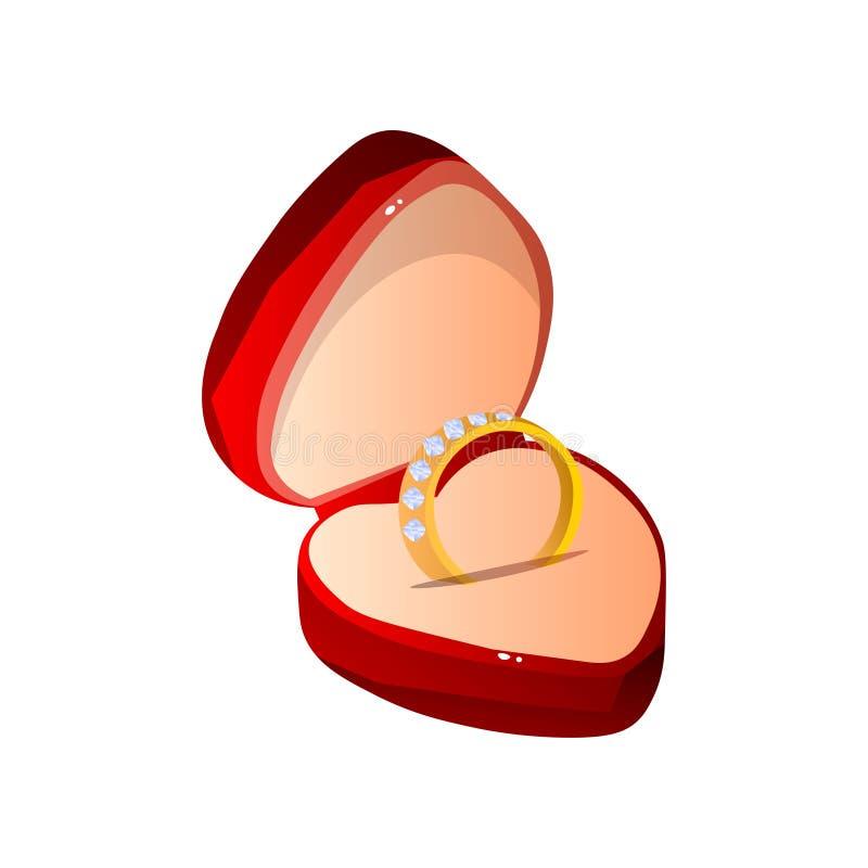 Caja de regalo abierta terciopelo rojo con Diamond Ring, caja en forma de corazón de la joyería con el compromiso Ring Vector Ill ilustración del vector