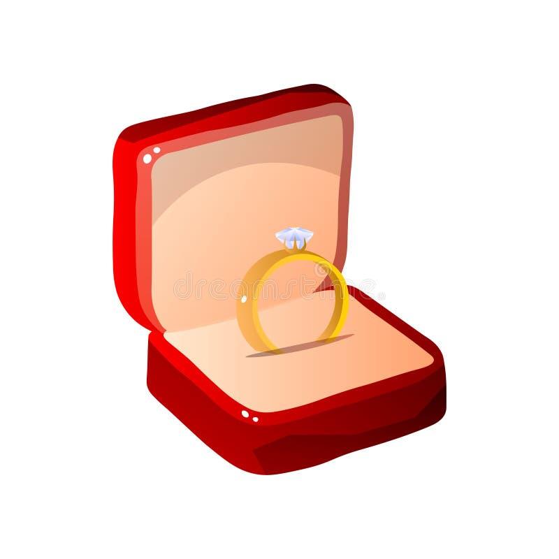 Caja de regalo abierta terciopelo rojo con Diamond Ring Jewelry Vector Illustration libre illustration