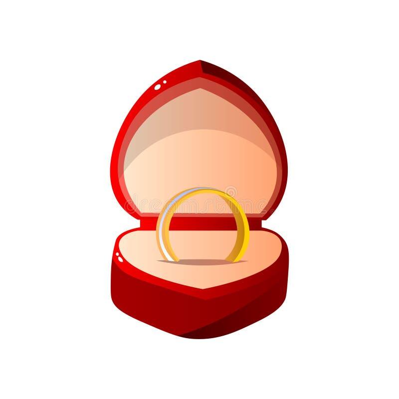 Caja de regalo abierta terciopelo rojo con el anillo, caja en forma de corazón de la joyería con el compromiso Ring Vector Illust stock de ilustración