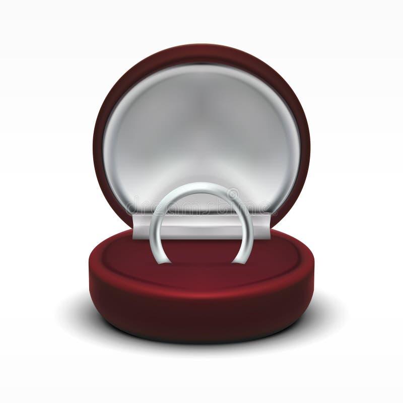 Caja de regalo abierta terciopelo rojo redondo claro de la joyería con el anillo de plata stock de ilustración