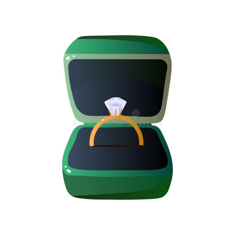 Caja de regalo abierta terciopelo verde con Diamond Ring, ejemplo formado cuadrado del vector de la caja de la joyería libre illustration