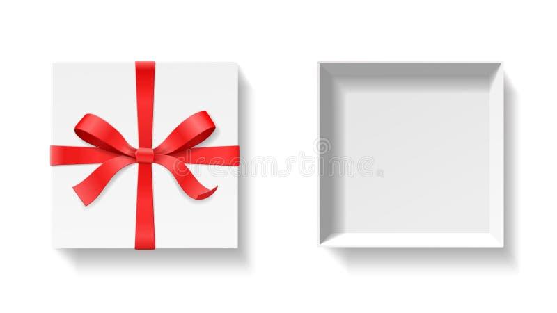 Caja de regalo abierta vacía con el nudo del arco del color rojo y cinta aislada en el fondo blanco libre illustration