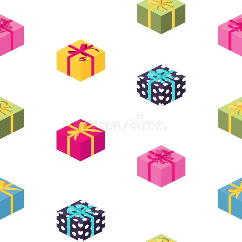 Caja de regalo abstracta con el fondo inconsútil del modelo del arco y de la cinta Illustrration del vector ilustración del vector