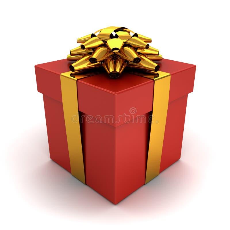 Caja de regalo, actual caja con el arco de la cinta del oro aislado en el fondo blanco con la sombra stock de ilustración