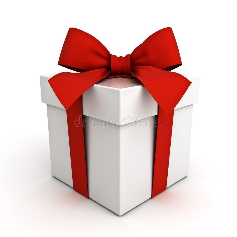 Caja de regalo, actual caja con el arco rojo de la cinta aislado en el fondo blanco ilustración del vector
