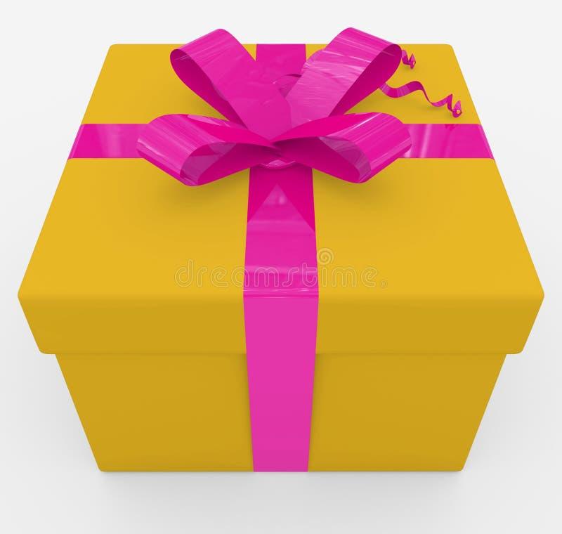 Caja de regalo - caja amarilla, cinta púrpura - aislada en blanco ilustración del vector