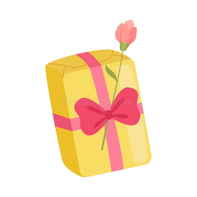 Caja de regalo amarilla del día de fiesta festivo con el arco y Rose Flower abrumadores, actual paquete para el cumpleaños, Navid stock de ilustración