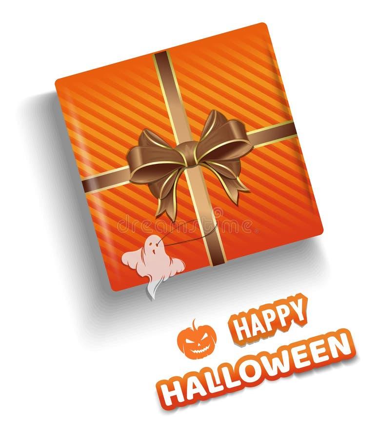 Caja de regalo anaranjada para Halloween Diseño de Halloween ilustración del vector