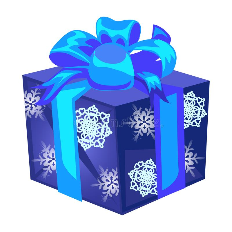 Caja de regalo azul con un arco con el papel envuelto con la textura de los copos de nieve aislados en un fondo blanco Vector libre illustration